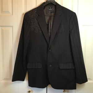 Marc Ecko Embroidered Pinstripe Fitted Blazer sz L